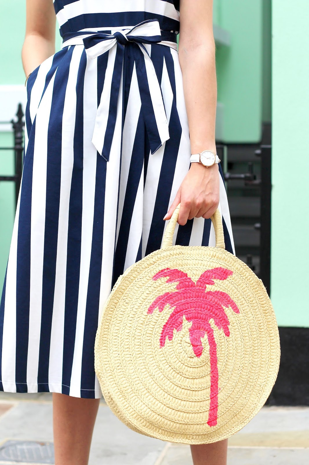 peexo round straw bag