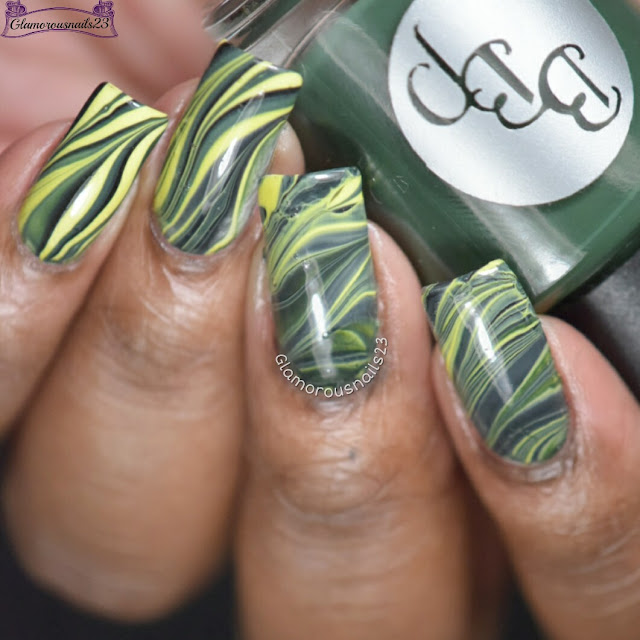 Watermarble Wednesdays Green, Yellow & Black