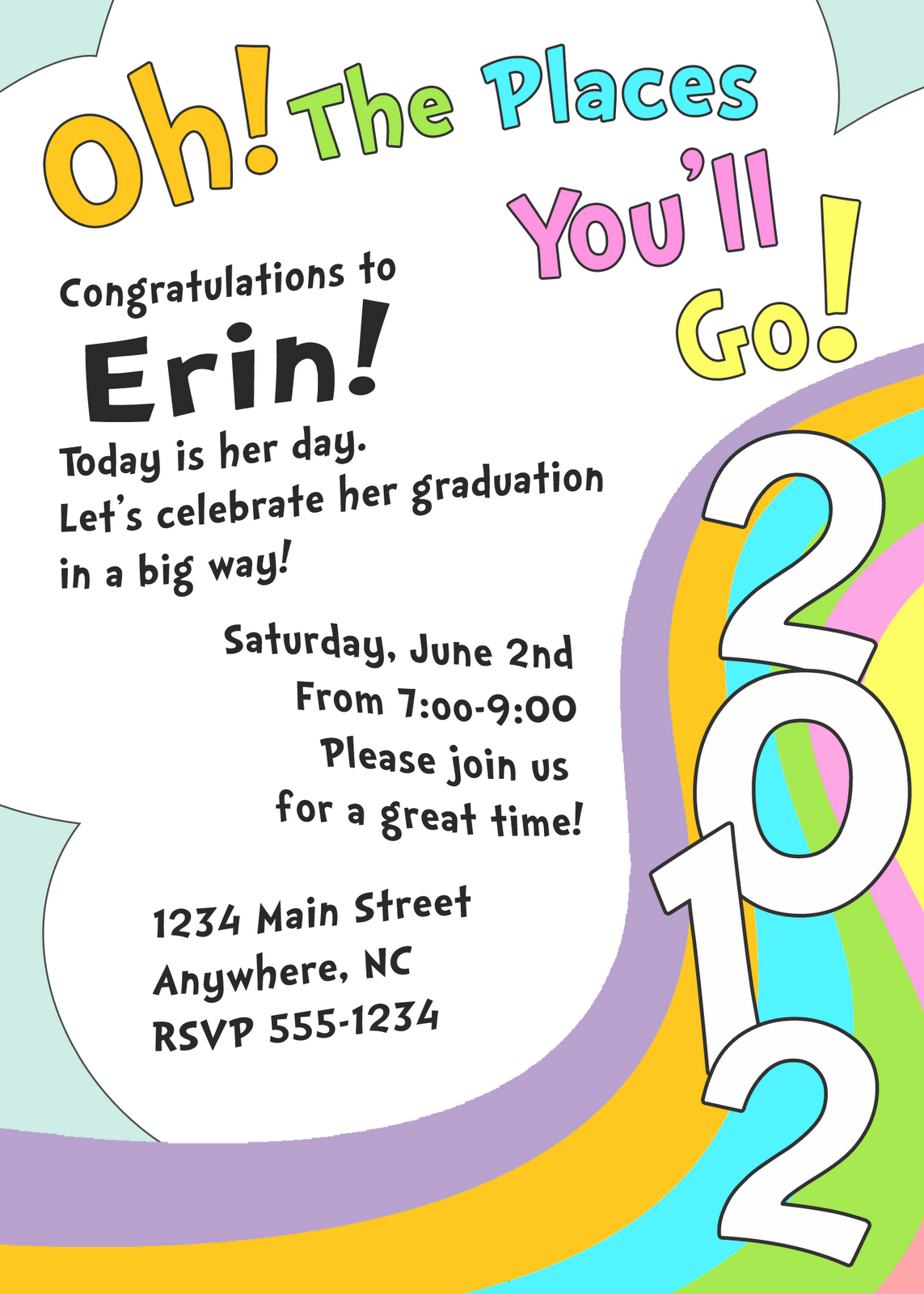 Oh The Places You Ll Go Graduation Invite I Am Working On A Printable Package Here Is That Will Be Included