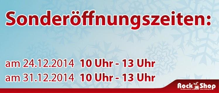 Rock Shop Musikinstrumente Karlsruhe am 24.12. und 31.12.2014 von 10 - 13 Uhr