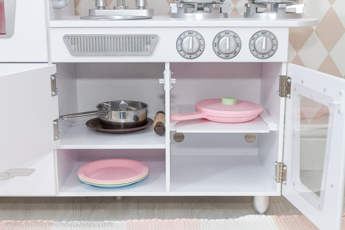 Accesorios de cocina de juguete Juego de utensilios de cocina metálicos deluxe olla sarten huevo frito  de Kidkraft