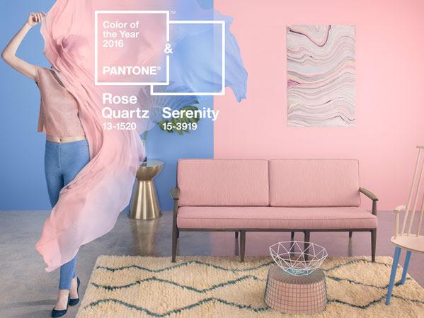 Los colores del año 2016 según la guía pantone, rosa quartz y azul serenity
