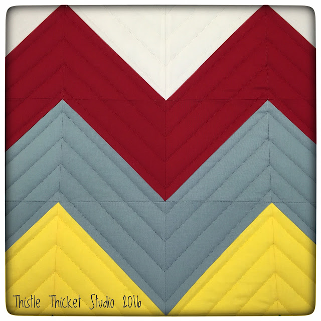 Thistle Thicket Studio, Robots All In A Row quilt, chevron quilt, straight line quilting, quilts