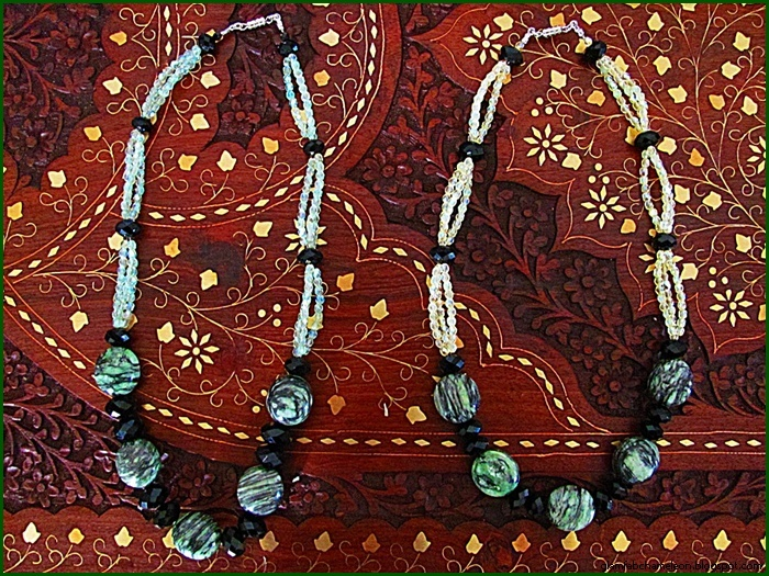 Glam Chameleon Jewelry green zebra jasper necklaces