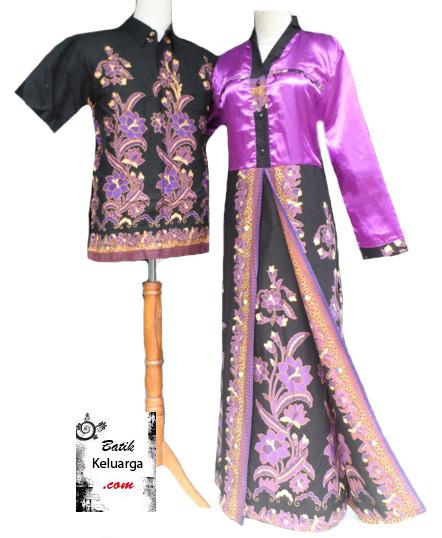 15 Model Busana Muslim Batik Couple Kombinasi Satin 2017