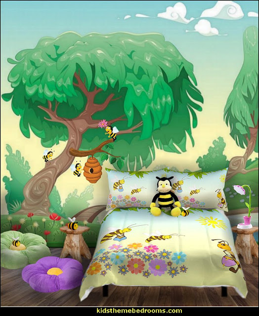 bee bedroom little girls bee themed bedroom  bumble bee bedrooms - Bumble bee decor - Honey bee decor - decorating bumble bee home decor - Bumble Bee themed nursery - bee wallpaper mural decals - Honeycomb Stencil - hexagonal stencils - bees in springtime garden bedroom -  bee themed nursery - black yellow bedroom ideas - Hexagon pattern -