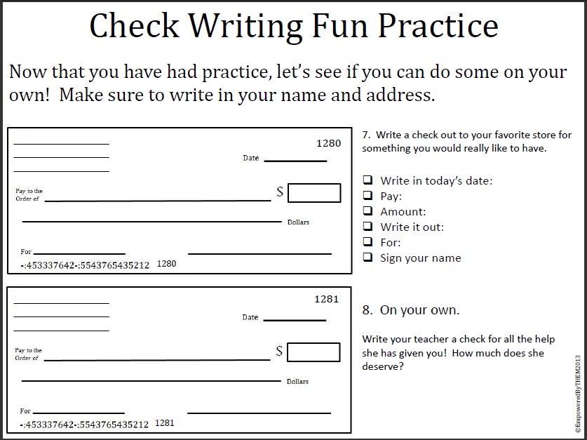 Writing a check worksheets for students