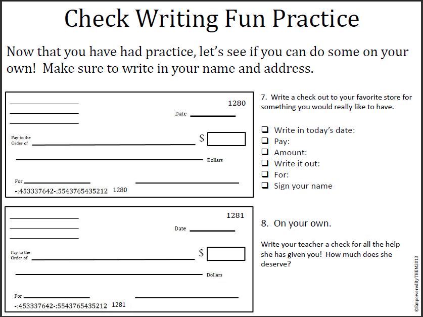 writing a check worksheet