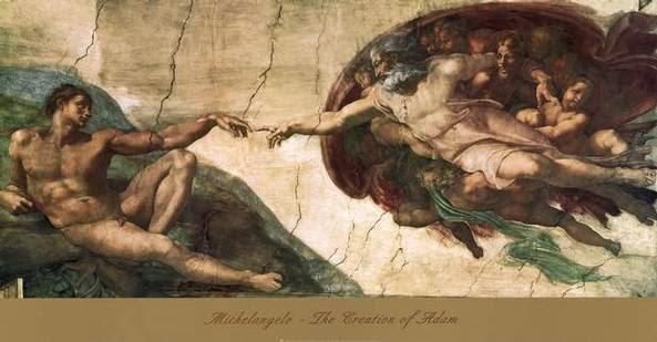 A Criação e Adão e Eva - Michelangelo Buonarroti e suas pinturas (Renascimento) Italiano