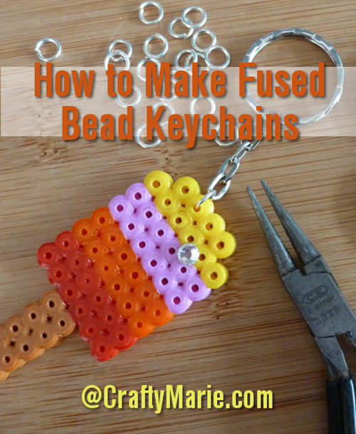 How to make fused Hama Perler bead key chains keyring designs tutorial craft instructions step by step