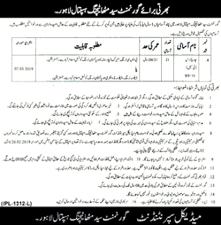 Goverment Jobs Charge Nurse jobs in Lahore