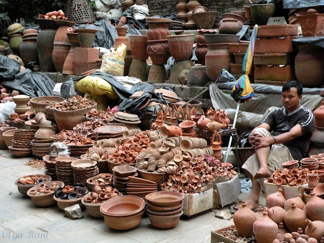 Variety of locally handmade pottery on sale, Nepal