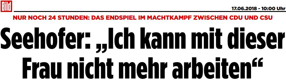 Horst Seehofer: Ich kann mit dieser Frau nicht mehr arbeiten