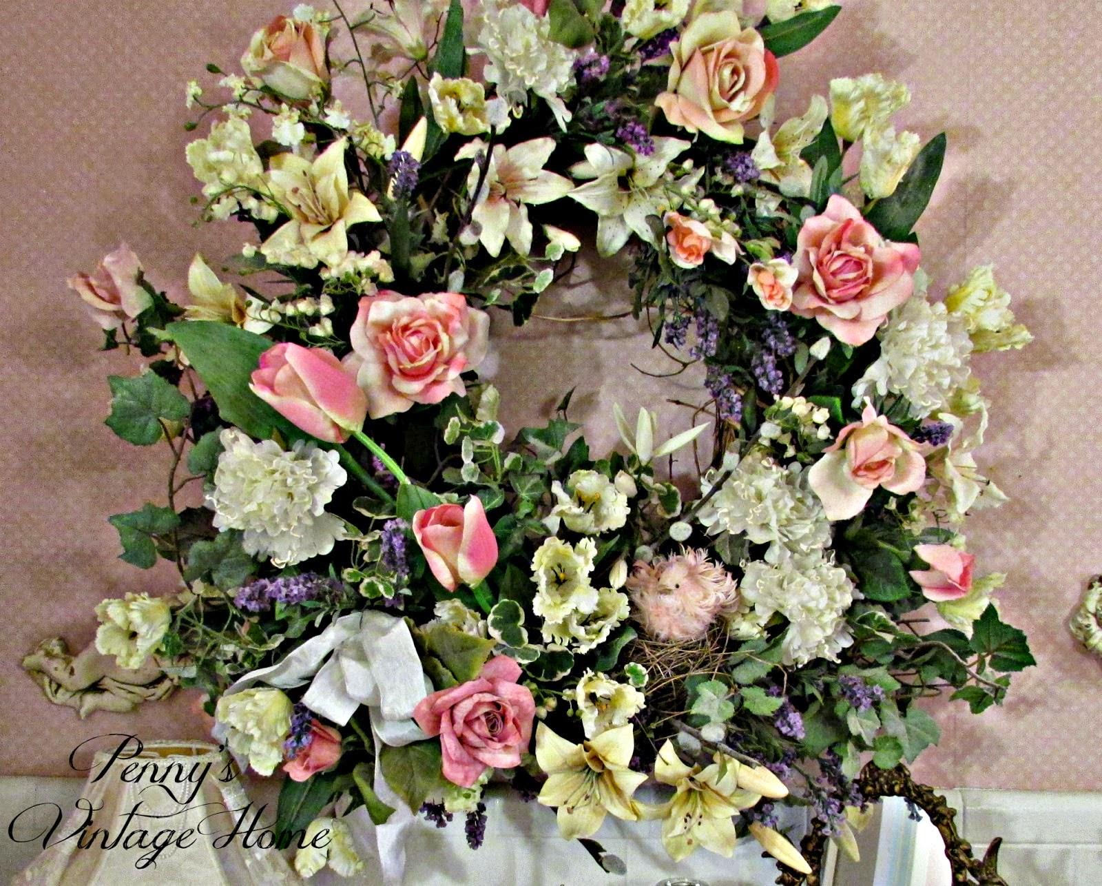 spring wreath vintage floral
