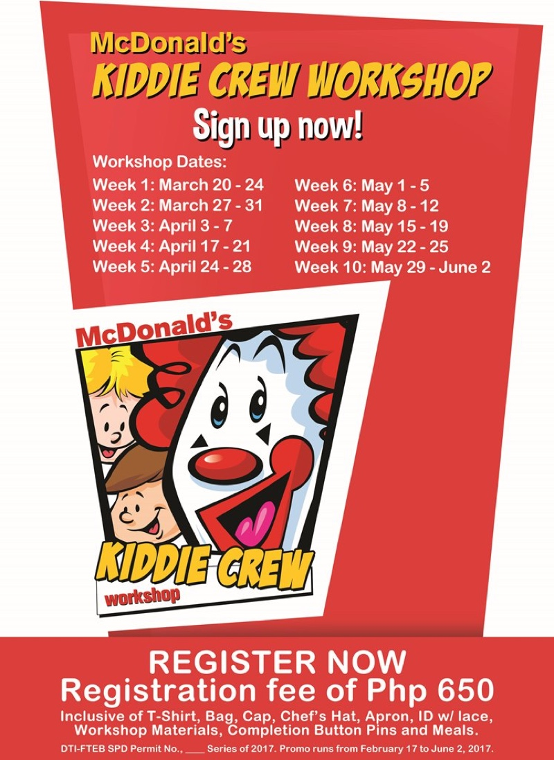 2017 rochelle rivera registration is ongoing until 30 2017 in close to 500 participating mcdonald s restaurants nationwide kiddie crew workshops happen weekly from