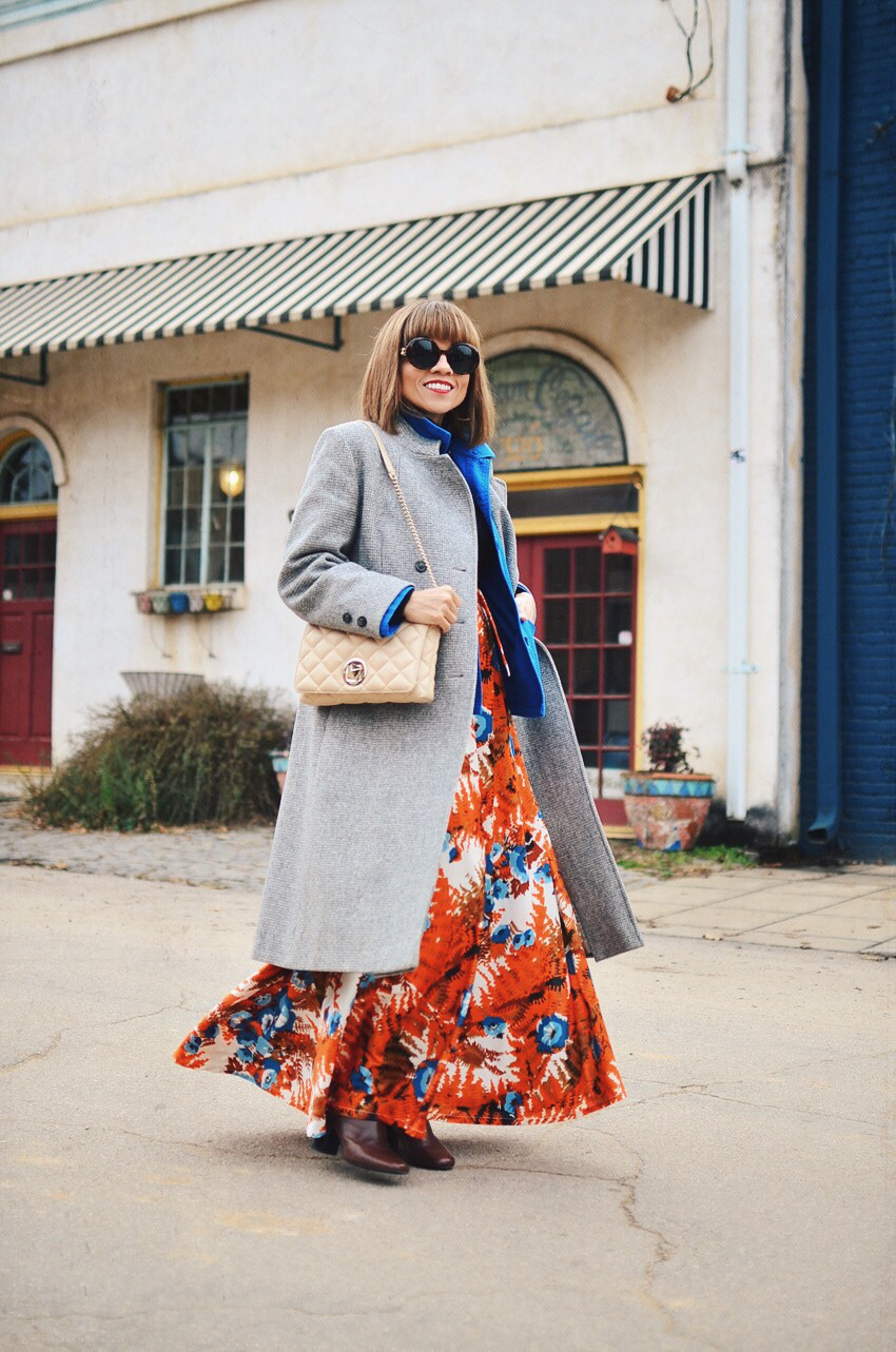 Floral Maxi Skirt Street Style