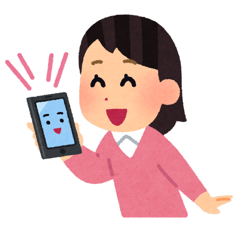 スマートフォンに話しかける人のイラスト(女性) | かわいいフリー ...