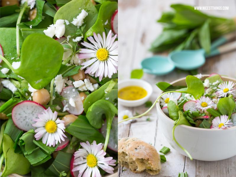 Frühlingssalat Rezept mit Radieschen, Gänseblümchen, Postelein, Feta, Kichererbsen