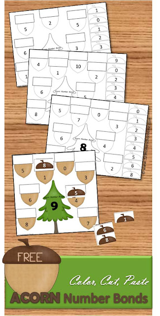 You are going to love these Acorn Worksheets that help preschool, kindergarten, first grade kids practice number bonds. These free printables are so much fun to  Color, Cut, and Paste. Free math worksheets are great for homeschool and math centers.