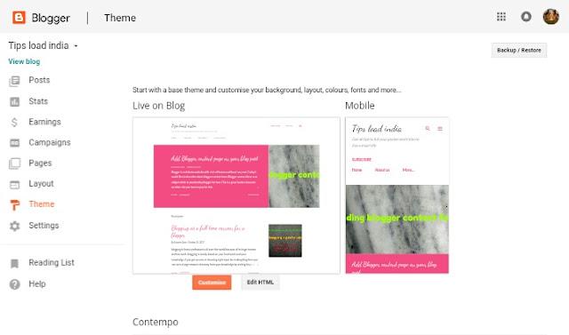 Theme, blogger