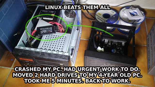 linux beats them all - crashed my pc had urgent work to do moved 2 hard drives took me 5 minutes back to work
