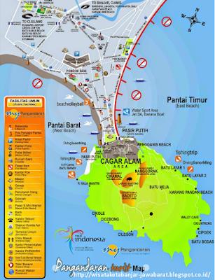 Peta Objek Wisata Pantai Pangandaran