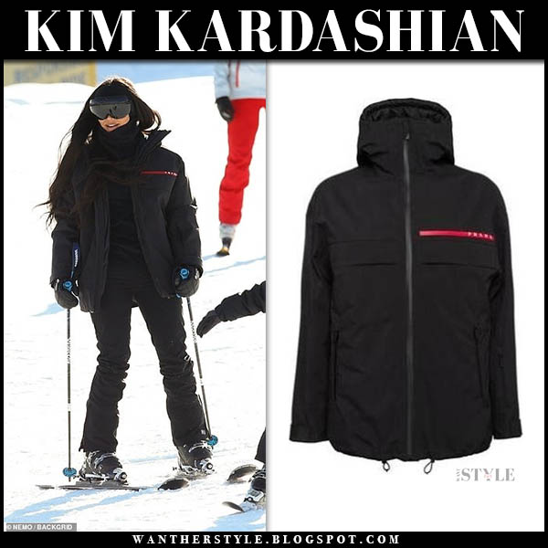 Kim Kardashian in black prada ski suit skiing aspen celebrity outfits january 1