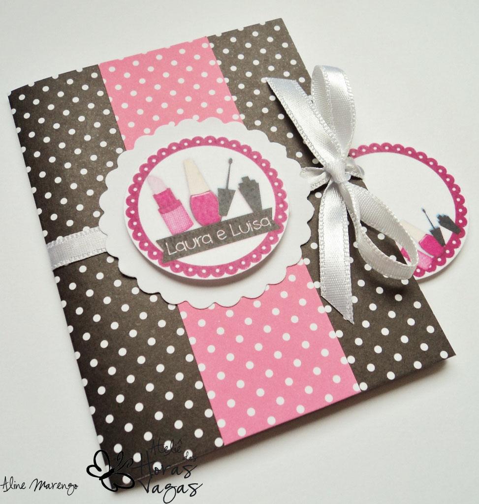 convite artesanal dia de spa beleza meninas preto e pink garota dia de princesa
