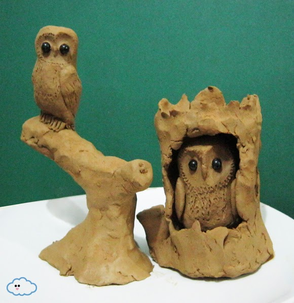 TOMKUU TomKuus Owl Family Clay Sculpture