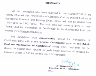 DEECET TS 2017 Certificate verification dates