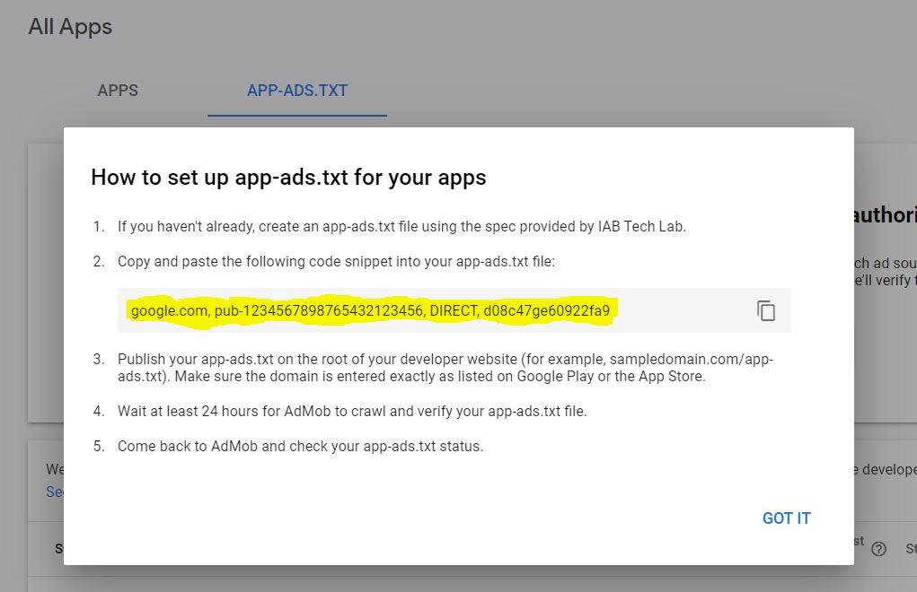 code admob app-ads.txt