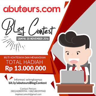 Informasi Lomba Blog Contest Dari AbuTours Berhadiah Liburan ke Bali & Uang Jutaan Rupiah Deadline 30 November 2016