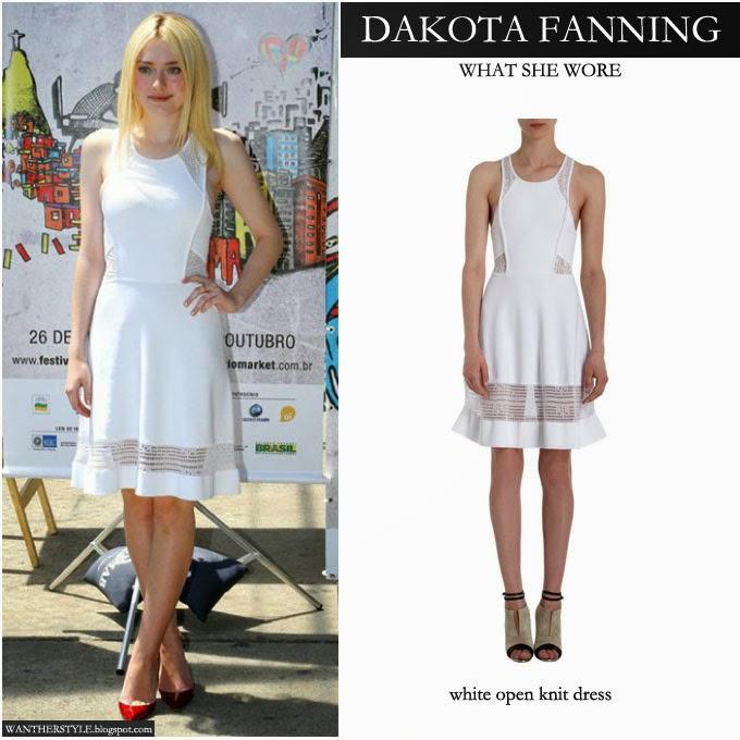 71e2cc5b61f WHAT SHE WORE  Dakota Fanning in white embroidered tank dress in Rio ...