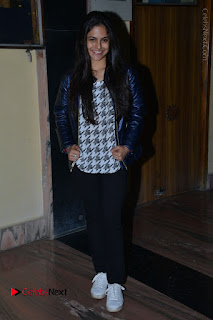 Actress Nanina Ganguly Stills in Black Tights with Vangaveeti Movie Team at Devi Theater  0047.JPG