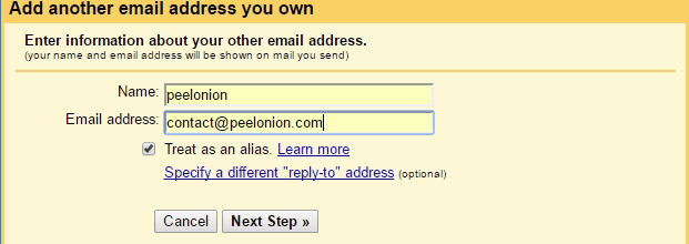 gmail add email alias and name