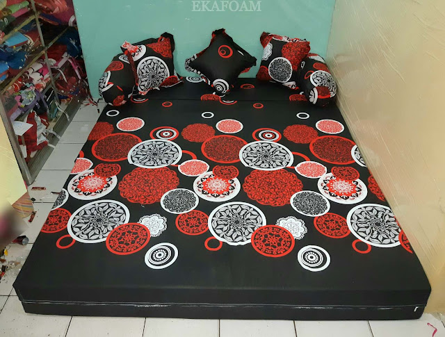 Sofa bed inoac motif darkmoon orange posisi kasur