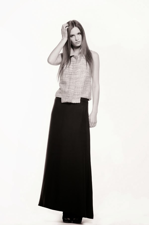 Woven shift top with black skirt - Women's Fashion, White Background Studio Photography by Kent Johnson.