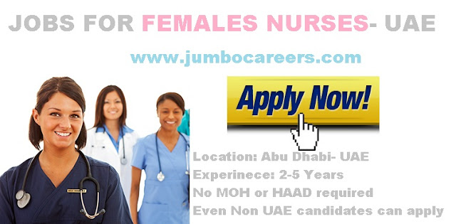 Nurses Jobs 2018 without Haad, Nurses jobs without MOH 2018.
