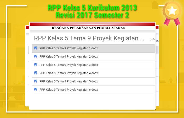 RPP Kelas 5 Kurikulum 2013 Revisi 2017 Semester 2