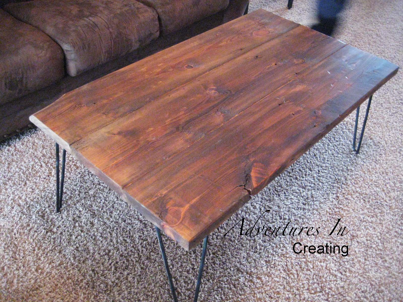 Diy Desk With Hairpin Legs Remodelaholic Reclaimed Wood Coffee Table With Hairpin Legs