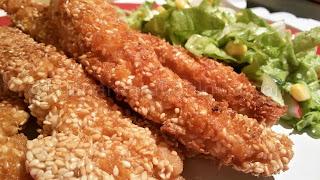 Рецепта за пилешки филенца с корнфлейкс и сусам