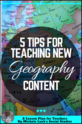 Easy to implement ideas and tips for Teaching Geography in the middle or high school classroom with lesson plan suggestions, websites to use, and activities to make learning more engaging. This part of the series focuses on introducing content.