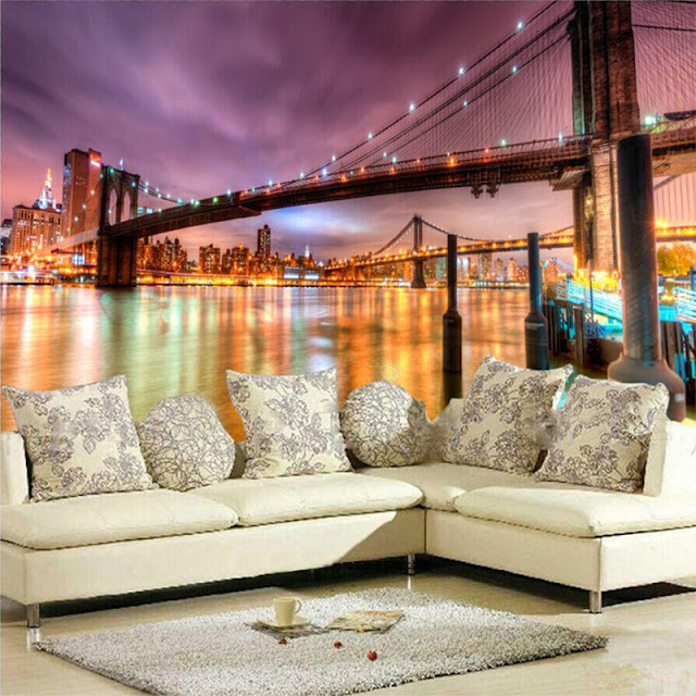 New York Wall Mural Brooklyn Bridge Wallpaper Night Livingroom