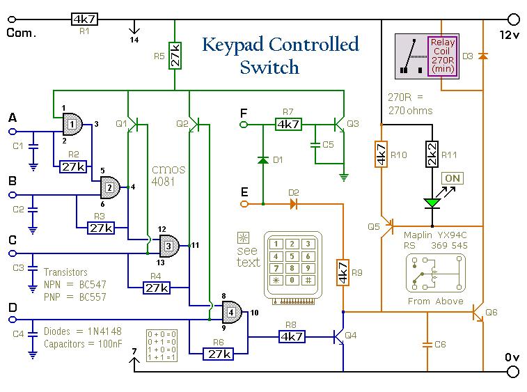 schematic wiring diagram a 4 digit keypad controller. Black Bedroom Furniture Sets. Home Design Ideas