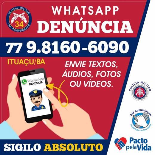 Polícia Militar de Ituaçu lança o Whatsapp Denúncia