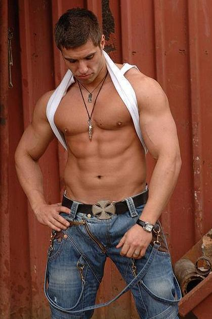 topless men in jeans