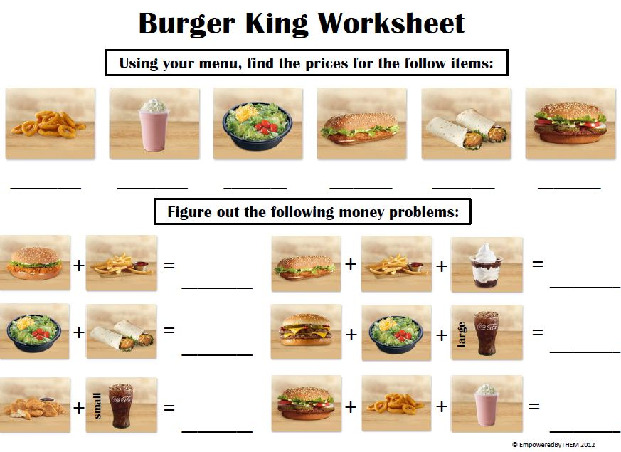 Menu Math Worksheet Pdf