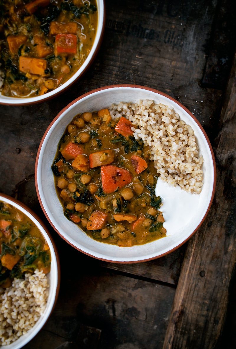 A vegan pumpkin chickpea stew for a simple, seasonal autumn meal. Served over brown rice, it's a budget friendly, filling, and healthy dinner that freezes well.