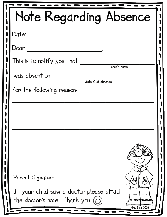 Mrs solis 39 s teaching treasures absent note freebie for School absence note template free