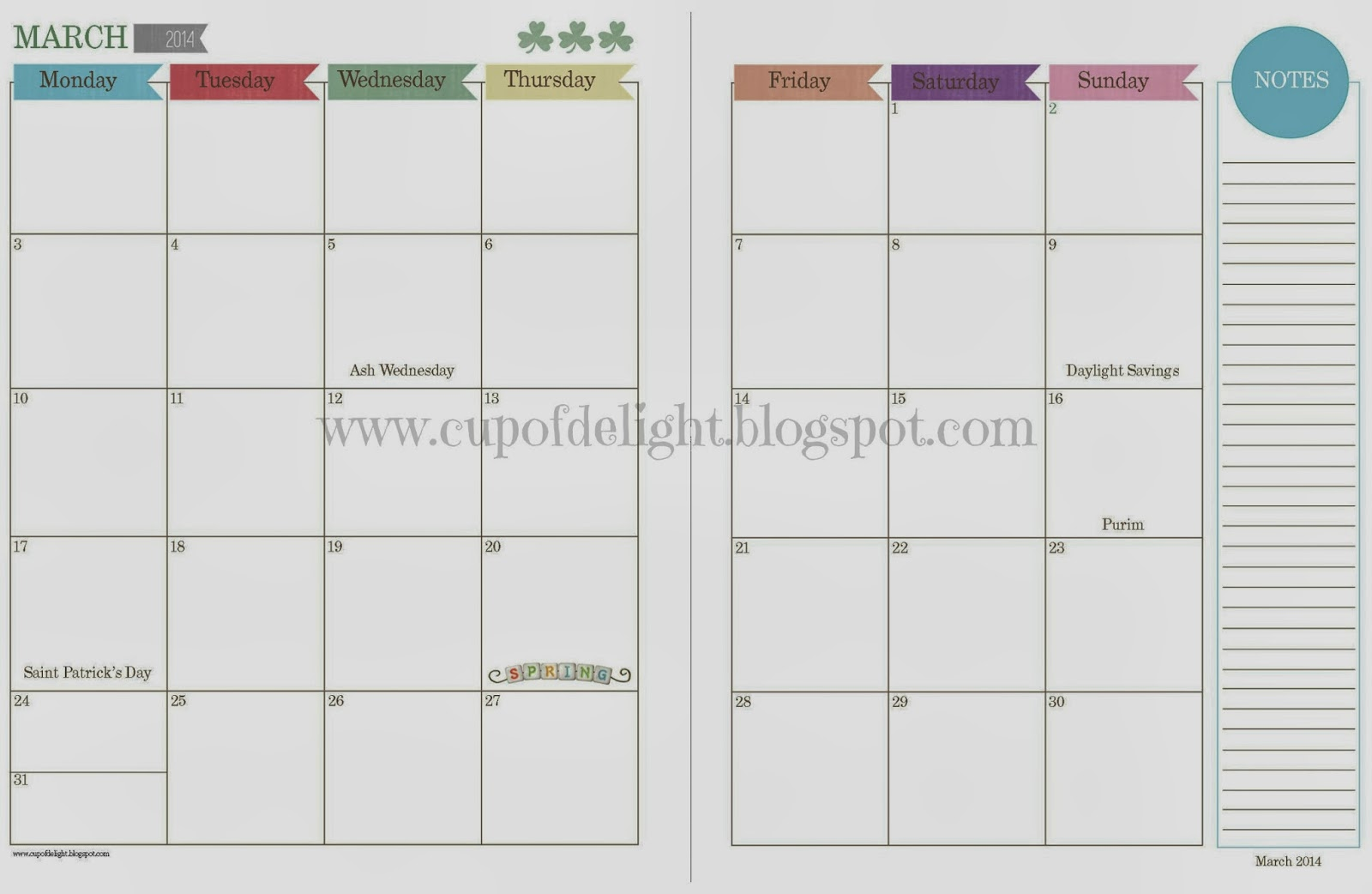 2014 calendar with jewish and christian holidays for Two page monthly calendar template